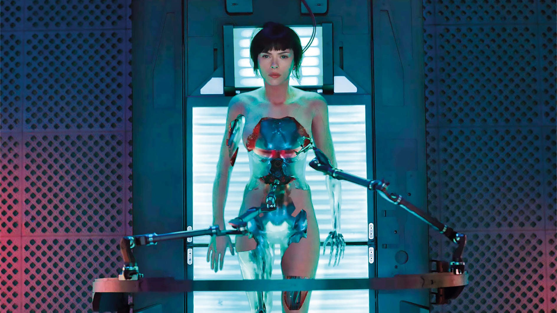 Ghost in the Shell is a largely humourless affair: all slums, skyscrapers and holograms