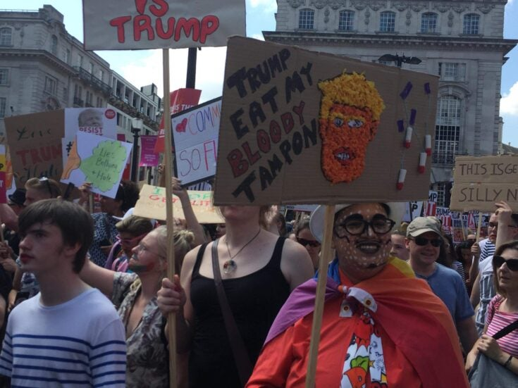 Trump's visit provides a rare moment of unity for the British left