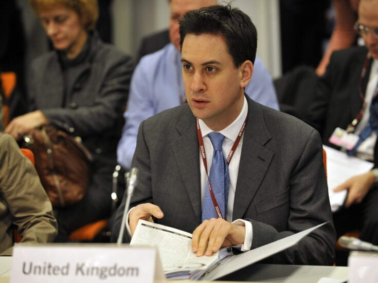 Miliband is under pressure to back the government's climate change plan