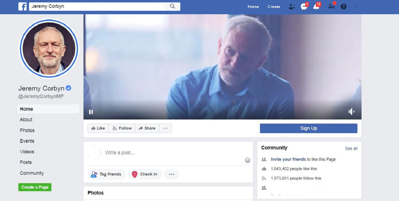 On Facebook, Jeremy Corbyn is getting all the attention