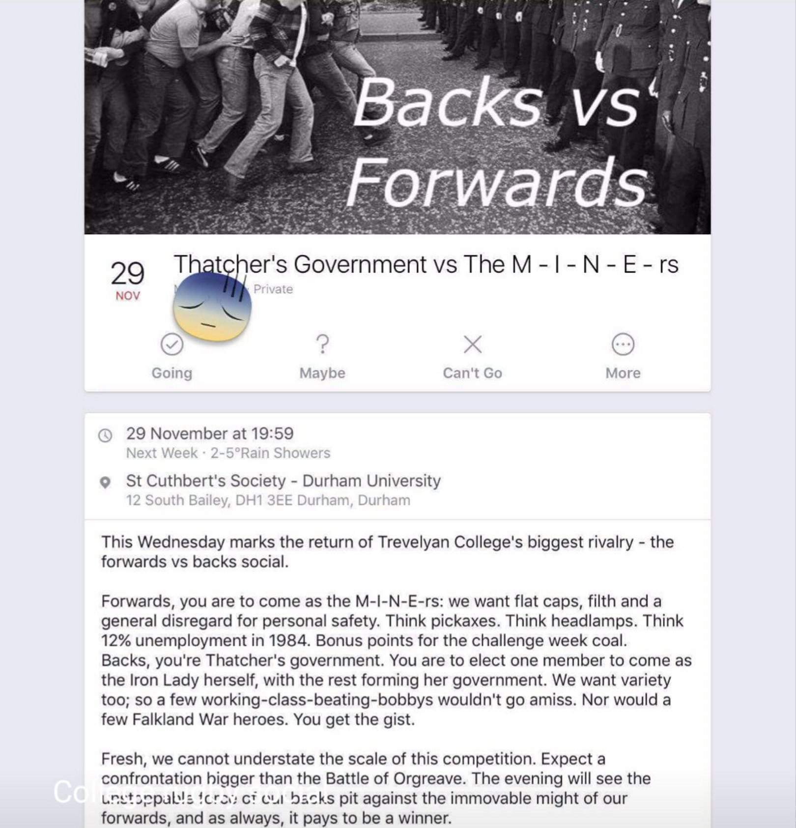 """The """"Thatcher v miners"""" Durham party shows how tough university is for poor students"""