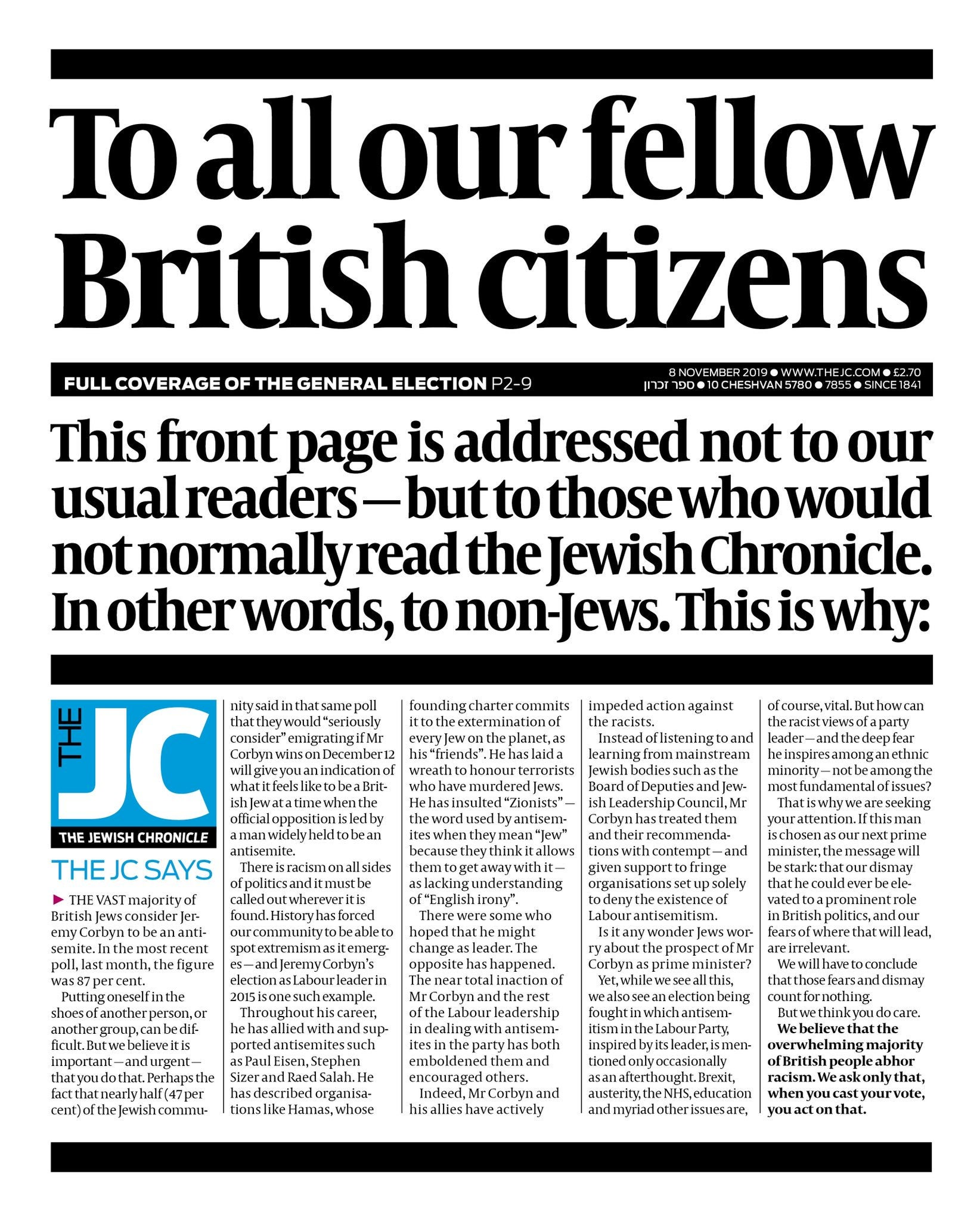 Why I warned non-Jews about Jeremy Corbyn on the front page of the Jewish Chronicle