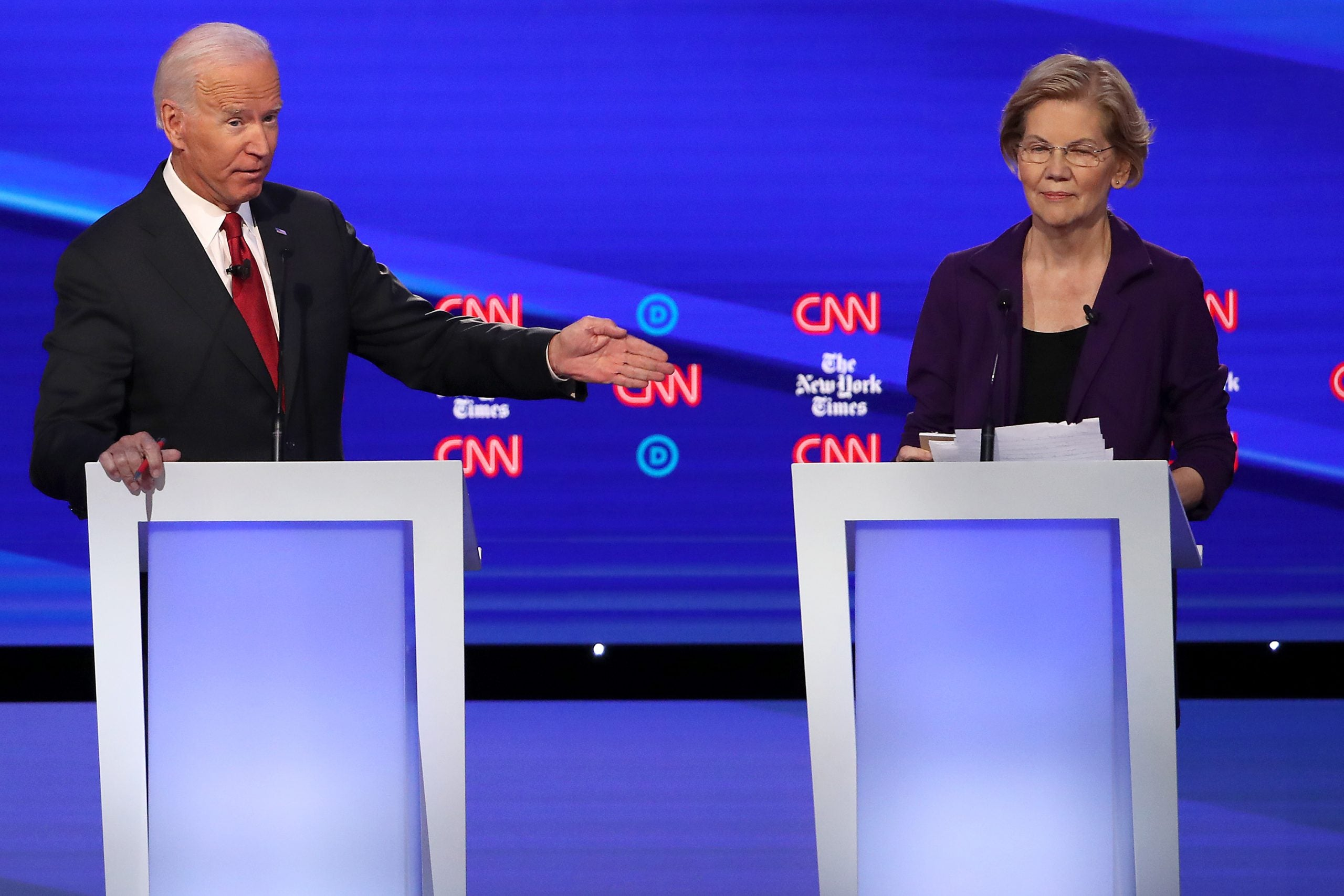 Swipes from rivals during the Democratic debate only prove Warren is now the frontrunner