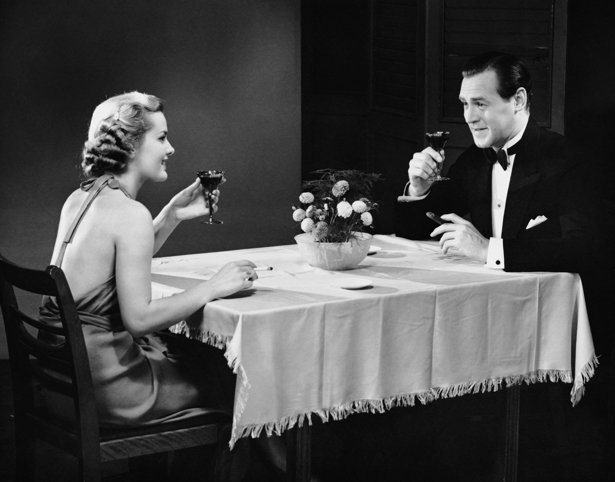 """Husband and I have put the kids to bed early. We are having a """"date night"""" in our dining room"""
