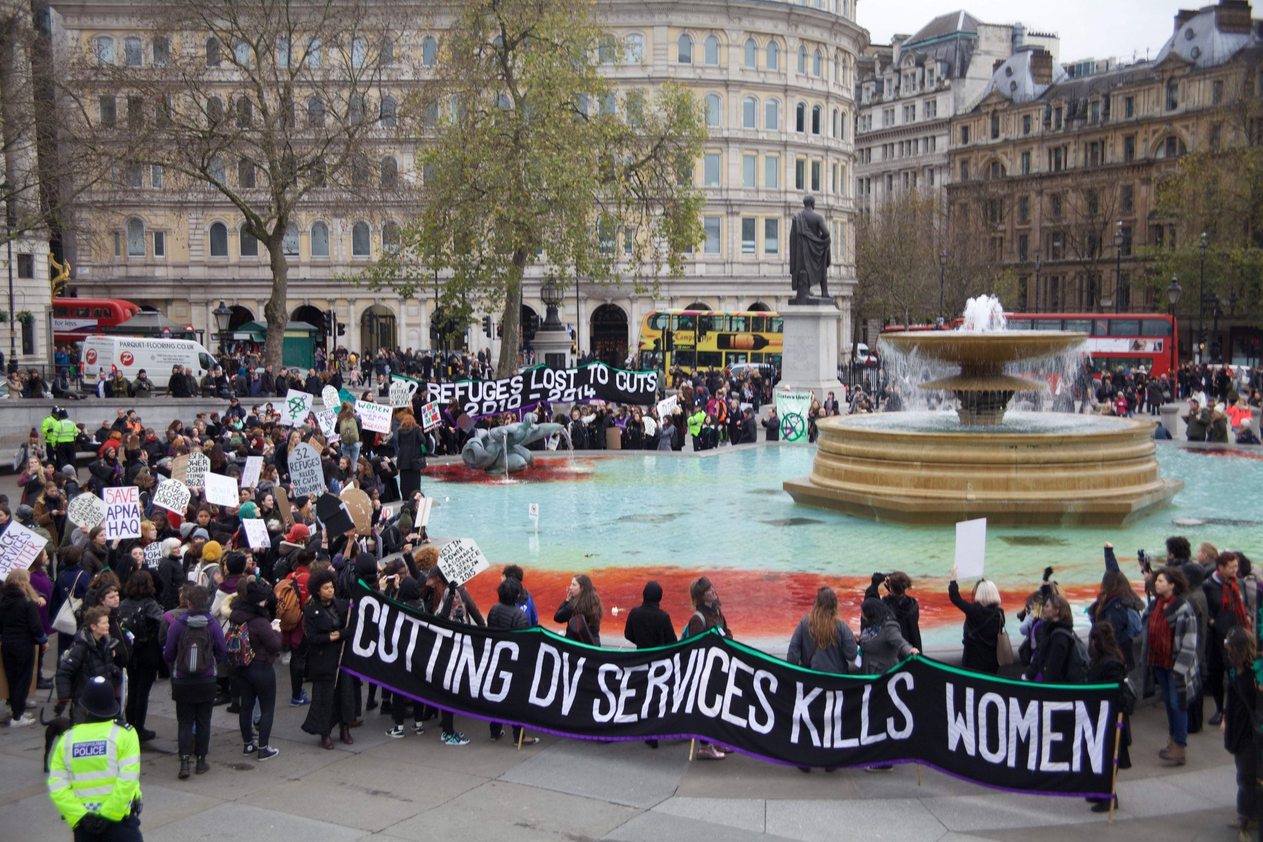 """""""They cut, we bleed"""": activists Sisters Uncut protest closures of women's services"""