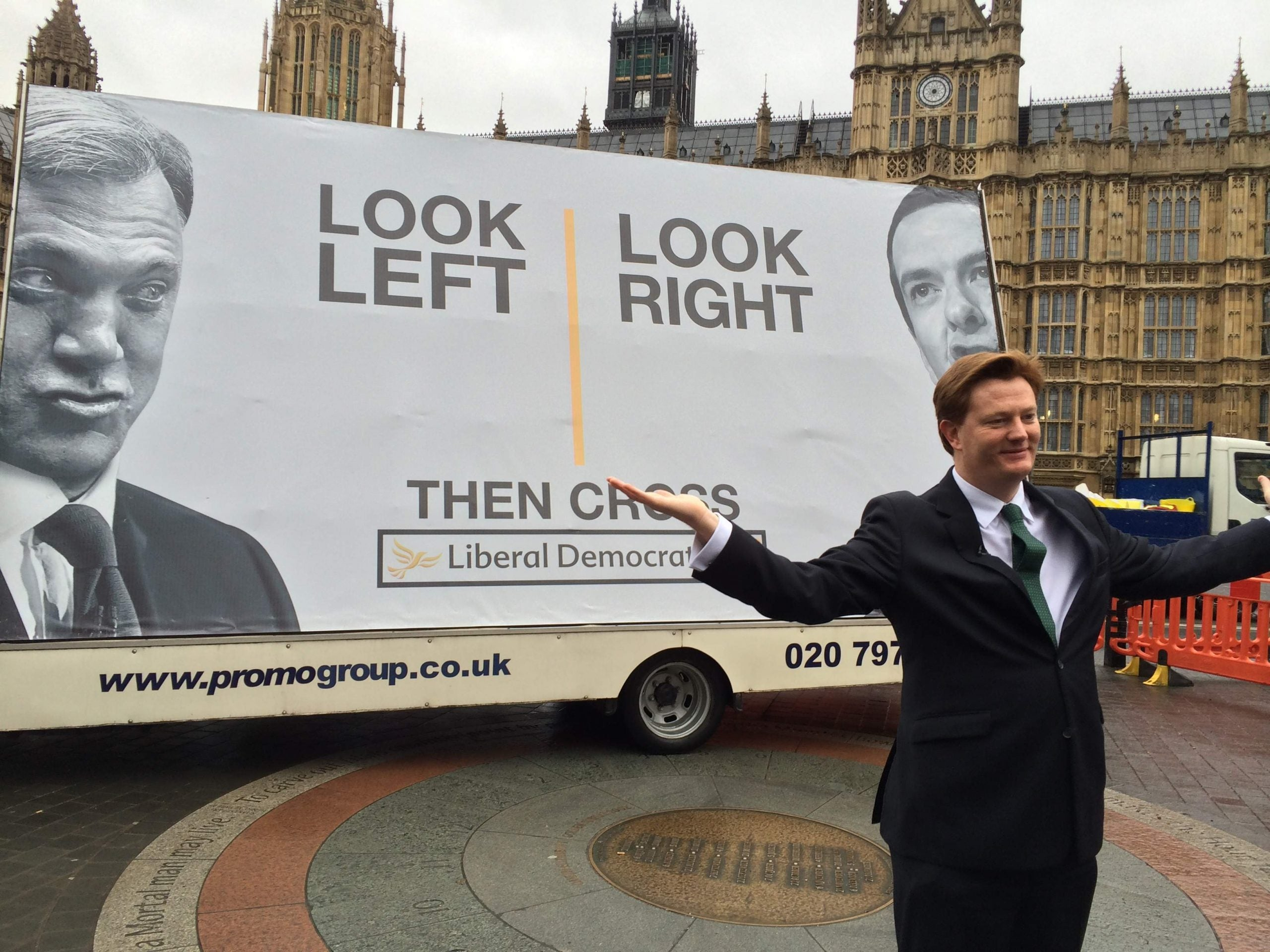 Lib Dems unveil their first election poster - at 8.20am, in the rain