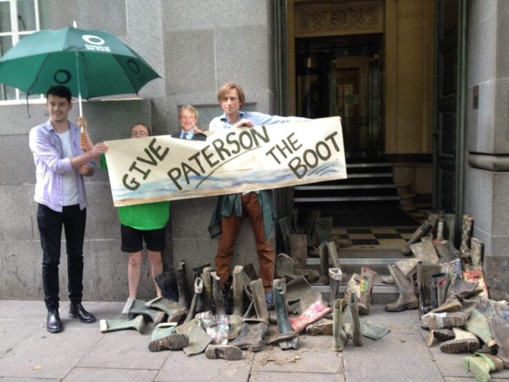 Why are there 200 muddy wellies on the steps of Defra today?