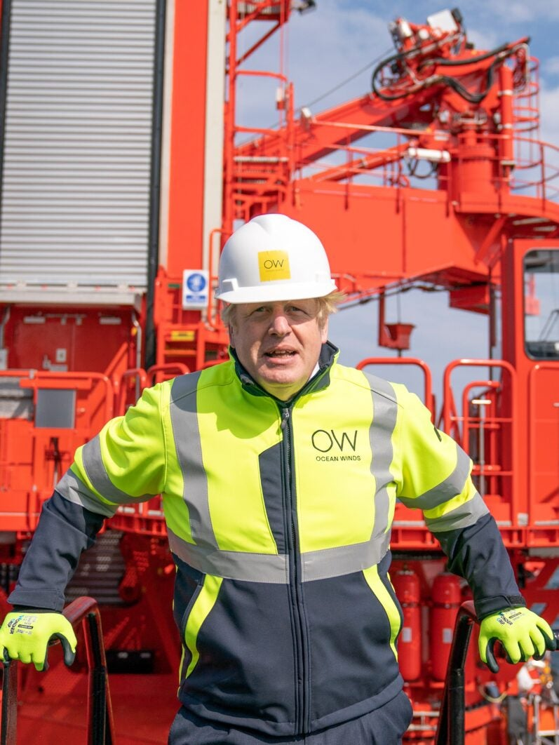 Boris Johnson at a wind farm.