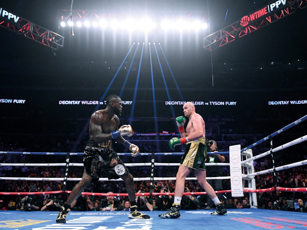 Deontay Wilder and Tyson Fury in their first fight, at the Staples Center in Los Angeles, December 2018. Photo by Harry How/Getty Images
