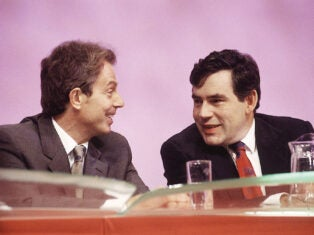 Tony Blair and Gordon Brown at Labour conference in 1999. Photo by Jeff Overs/BBC News & Current Affairs via Getty Images