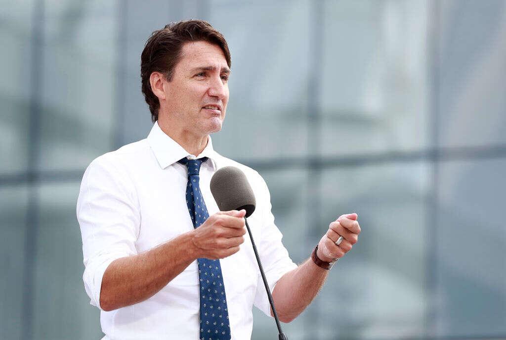 Canada Prime Minister Justin Trudeau makes a speech