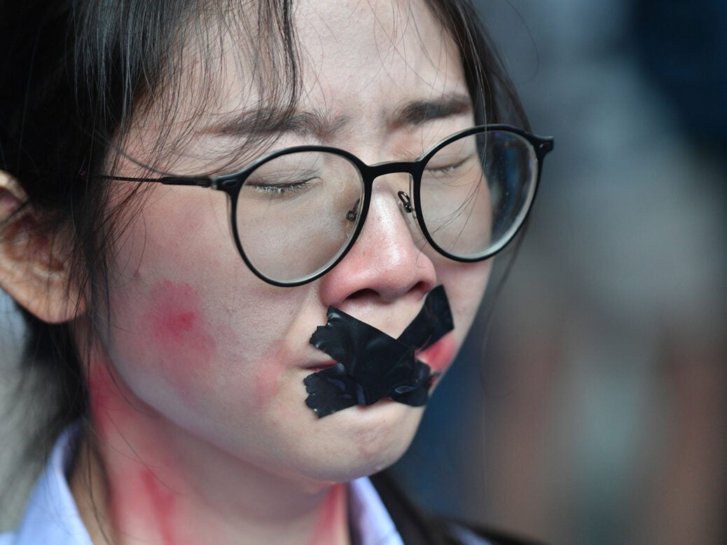 A Thai protester during a 'Bad Student' rally in Bangkok on November 21, 2020.